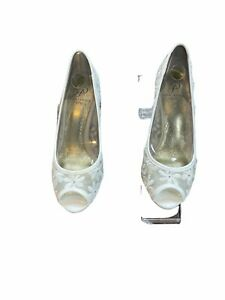 adrianna papell heels 7.5 M womens ivory mesh Floral