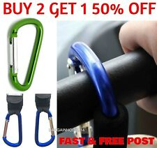 Aluminium Buggy Clips Large Pram Pushchair Shopping Bag Hook Mummy Carry Clip