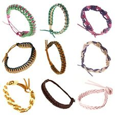 Real Leather Plaited Braided Rope Wristband Surfer Bracelet for Men Women Gifts