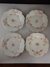 """4 Antique Bavaria Germany 7 1/2"""" Salad/Lunch Plates With Pink Floral/Gold  #1174"""