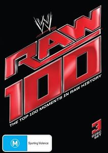 WWE - The Top 100 Moments In RAW History (DVD, 2013, 3-Disc Set)--FREE POSTAGE