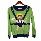 Tipsy Elves Men's Sweet Baby Jesus Ugly Christmas Sweater Size S Green