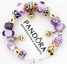 Authentic Pandora Silver Bracelet Mom Wife Purple Gold Heart European Charms New