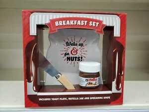 Jam & Preserve Nutella Chocolate Breakfast Set & Toast Plate Xmas Gift Set NEW