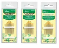 Clover 235 Gold Eye Embroidery Needles Size 3-9 SET OF THREE!