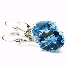 Swiss Blue Topaz, Sterling Silver Leverback Earrings, SE207