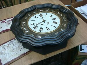 Antique Vintage Old French Movement Come With Wall Clock Case For Restoration