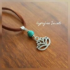 Lotus Flower Soft Leather Necklace ♡ Turquoise Bead & Tibetan Silver Pendant ♡