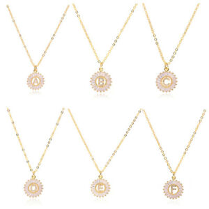 Crystal Initial Necklace Girl Chain Alphabet A-Z Letter Necklace Pendant Jewelry