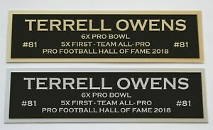 Terrell Owens nameplate for signed jersey football helmet or photo