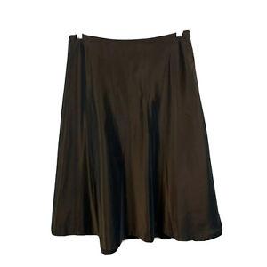 David Lawrence Womens Skirt Size 12 Metallic Bronze Brown A-Line Zip 4.01