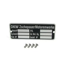 Typenschild mit 4 x Kerbnagel für DKW Zschopauer Motorenwerke