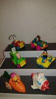 McDonalds Happy Meal toys CAKE TOPPERS RACERS LOT OF 6 LOONEY TUNES Fraggle Rock