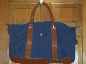 Polo Ralph Lauren Fragrance Duffel Navy Blue Brown Travel Carry On Bag Canvas