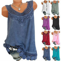 Summer Women Lace Loose Sleeveless Vest T Shirt Blouse Boho Tops Shirt Plus Size