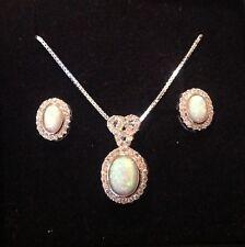 Sterling Silver Gilson Opal & CZ sparkling oval Pendant Necklace & Earrings Set