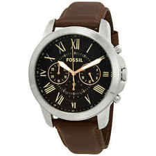 Fossil Grant Chronograph Black Dial Brown Leather Men s Watch FS4813 c51f552448