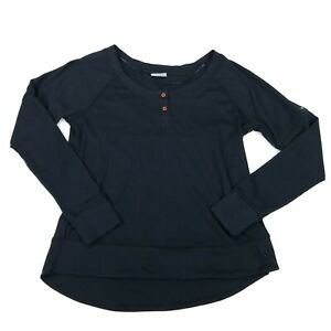 Columbia Fall Pine Washed Henley Shirt Womens Top Black Long Sleeve Textured M