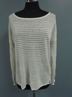 VINCE White Gold Linen Blend Casual Striped Scoopneck Knit Sweater Size S DD4504