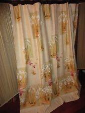 CROSCILL IRIS & BULBS GOLD PINK GREEN FLORAL FABRIC SHOWER CURTAIN  69 X 72