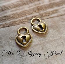 5 Heart Lock Charms Antiqued Bronze Steampunk Keyhole Pendants