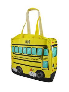 Zeckos Yellow School Bus Insulated Canvas Tote Bag