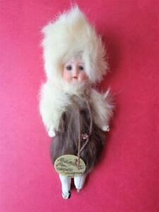 """Herm Steiner #21 MY ESKIMO KID Antique 5""""-6"""" Miniature German Bisque Doll"""