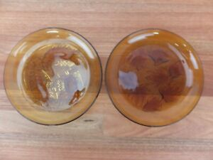 Pair of Vintage PASARI Amber Glass Decorative Plates Goldfish Lobster