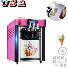 Ce  00004000 Commercial Soft ice cream making machine Desktop automatic drum 3 flavors