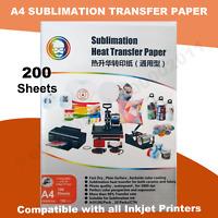200 Sheets Quality A4 Dye Sublimation Paper Desktop Inkjet Printer Heat Transfer