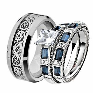 His & Her Wedding Ring Sets Stainless Steel CZ Celtic Scroll Tungsten Men Band