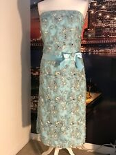 vintage 90s dress prom party cocktail wedding cruise  16 turquoise beautiful