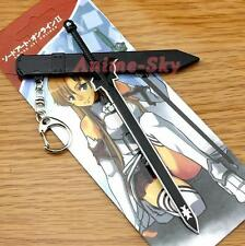 Anime Cosplay Sword Art Online Metal Black Sword Keychain Key Ring Pendant AU