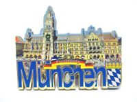 München Rathaus Marienplatz Holz Magnet Souvenir Germany