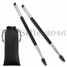 2PCS Eyebrow Angled Eye Brow Brush and Spoolie Brush Wood Handle Makeup Tools