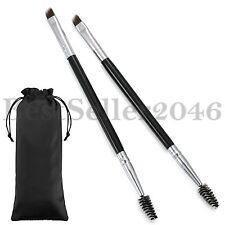 2PCS Eyebrow Angled Eye Brow Brush and Spoolie Brush Wood Handle Makeup Tools