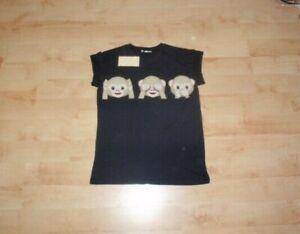 EMOJI Three wise monkeys womens black cotton t-shirt size UK 8 BNWT