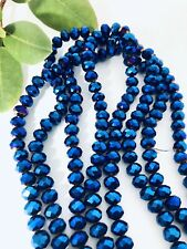 Metallic Blue round Crystal Glass Spacer Beads 8x6X1mm ~ 1 Strand 70 Beads
