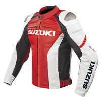 Suzuki GSXR Motorcycle Jackets Leather Biker Racer Motorbike Jacket Sport Adults