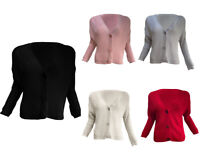 New WOMENS LADIEs 3 BUTTON Plain KNITTED CARDIGAN Coat Loose JUMPER TOPS SZ 8-14