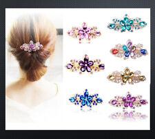 XL Haarclip Haarspange Spange Blumen 90 mm Klammer Haarkammer Strass 6 Farben