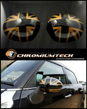 Gold Union Jack Mirror Cap Covers for LHD 2014 MK3 MINI Cooper/S/ONE F55 F56 F57