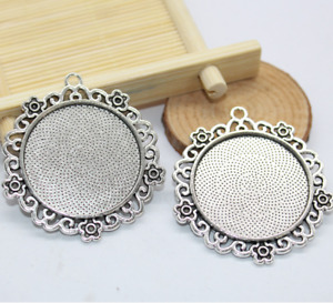 500pcs DIY materials Side hanging time gem round base alloy accessories 30X30mm