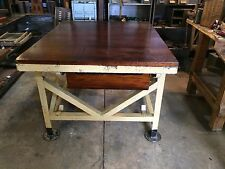 INDUSTRIAL VINTAGE  TIMBER RUSTIC  WORK BENCH CAFE KITCHEN ISLAND TABLE
