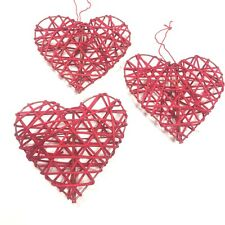 TRIO OF RED 10cm RUSTIC RATTAN HANGING LOVE HEARTS WEDDING GIFT DECORATION