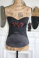Karen Millen Black Corset Top 10 Small Stones Red Embellishment Fitted Bustier