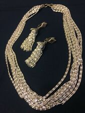 Vintage Ear Rings & Necklace Set Costume Jewelry Silver Look Chain Clip On