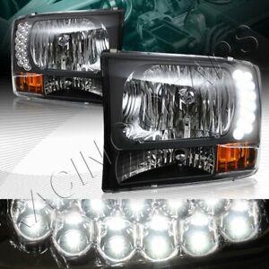 BLACK HOUSING LED HEADLIGHTS W/AMER REFLECTOR FIT 99-04 FORD F250/350 SUPER DUTY