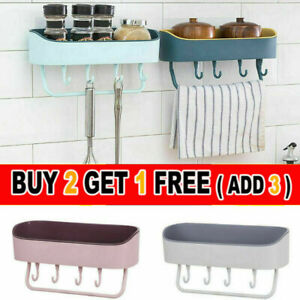 Shower Shelf Wall Storage Rack Stick Holder Organiser Tidy Suction Bathroom #