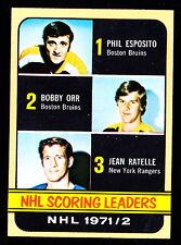 1972-73 TOPPS #63 PHIL ESPOSITO/BOBBY ORR/JEAN RATELLE
